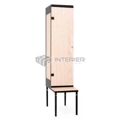 Šatní skříň kov+lamino 1-dveřová s lavičkou