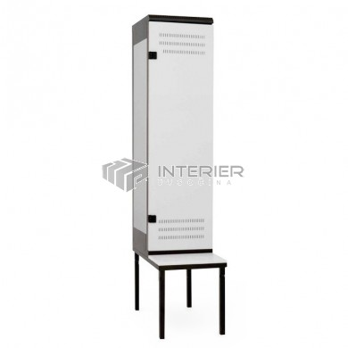 Šatní skříň kovová 1-dveřová s lavičkou