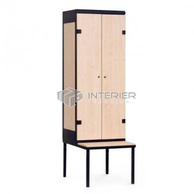 Šatní skříň kov+lamino 2-dveřová s lavičkou