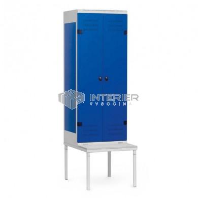 Šatní skříň kovová 2-dveřová s lavičkou